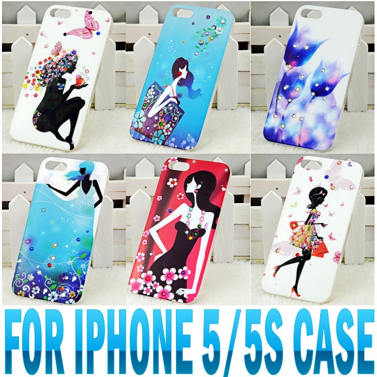 13 kinds high quality bling rhinestone hard painting case for iphone 5 5s back cover case luxury elegant beauty phone case(China (Mainland))