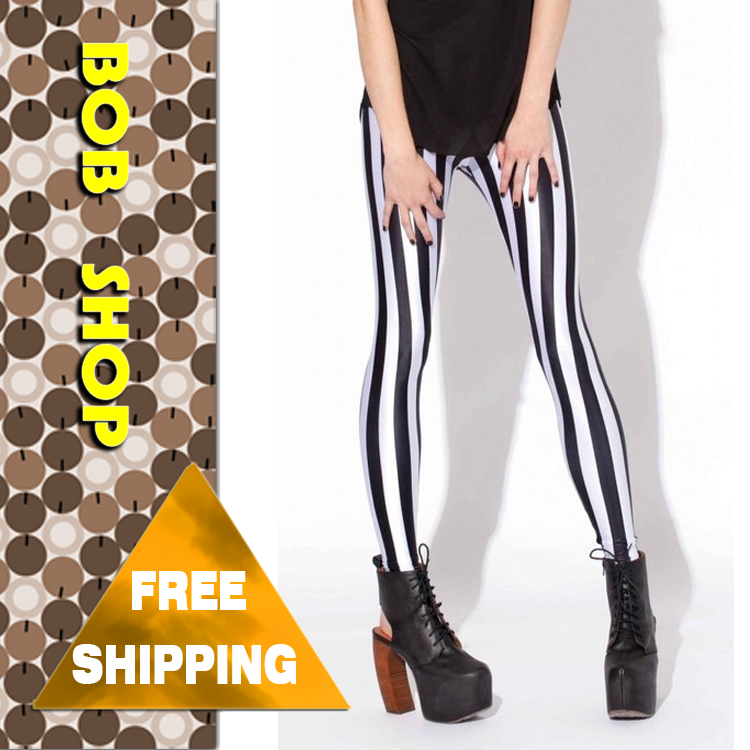 Bob shop,2013  Fashion Black And White Spandex Zebra Print Vertical Stripe Pants , free  shipping,   LG003