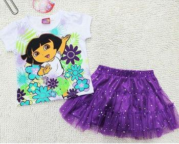 Free Shipping Girl children kids Dora Top Shirt 2-5Y Party Summer Tutu Dress Outfit Costume Skirt