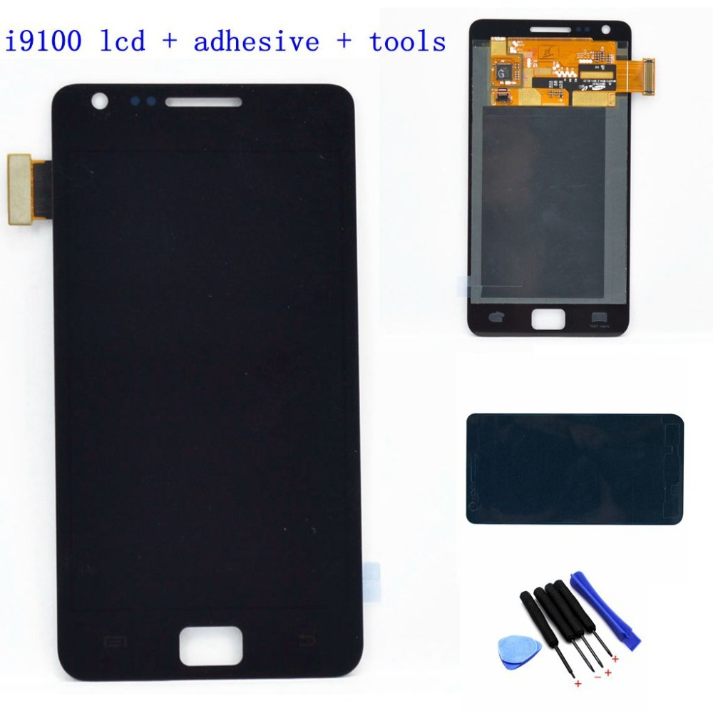 For Samsung Galaxy S2 I9100 LCD touch screen display with digitizer glass Assembly + Free Tools + Adehsive , Black Free shipping(China (Mainland))