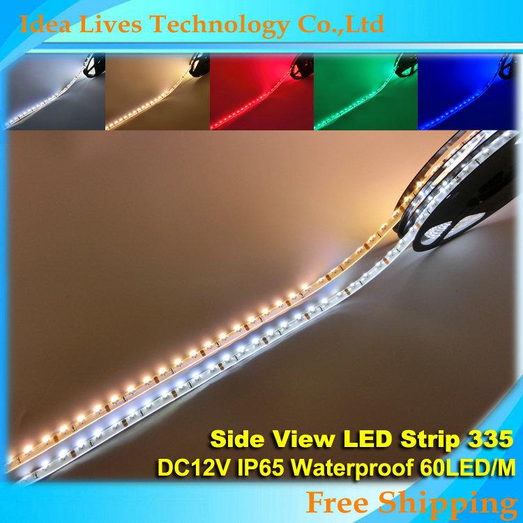 DC12V 335 waterproof Side Emitting LED Strip 60led/m ,White,Warm white,Blue,Green,Red,5m/lot(China (Mainland))