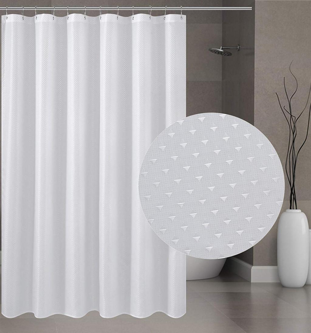 Diamond Thick Bathroom Curtain Waterproof Polyester Strip White Shower Curtains Hooks Mildew Thickening Bathroom Hotel 30gy