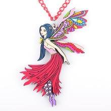 Bonsny Angel Fairy Doll Girls Pendant Acrylic Long Chain Dance Necklace Brand Fashion Jewelry For Women
