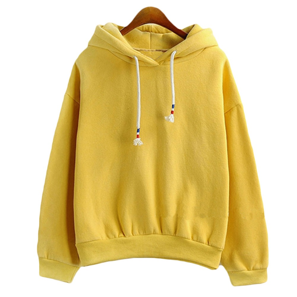 Women Hoodies Sweatshirts New Hot Sale Candy 10 Color Long Sleeved Thick Casual All-match Solid Leisure Hooded Hoodie Loose Tops(China (Mainland))