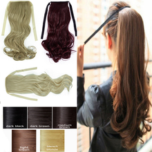 New drawstring clip In ponytail pony tail hair extension wrap around Curly wavy free shipping(China (Mainland))