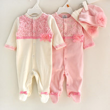 Princess Style Newborn Baby Girl Clothes Kids Birthday Dress Girls Lace Rompers+Hats Baby Clothing Sets Infant Jumpsuit Gifts(China (Mainland))