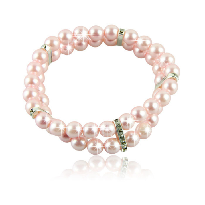New 2 Rows Pet Necklace Dog Cat Jewelry Pearls Rhinestones Pink Collar Best Deal Free Shipping 1pcs(China (Mainland))