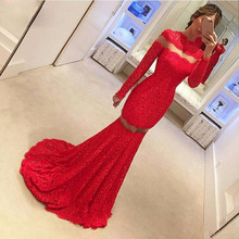 Red Evening Dresses 2017 O-Neck Long Sleeve Backless Sweep Train Lace with Applique Mermaid Prom Dresses 2017 Vestidos De Festa(China (Mainland))