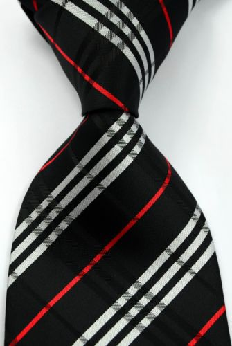 Classic Striped Black White Red JACQUARD WOVEN Silk Men's Tie Necktie #167 - wei669 store