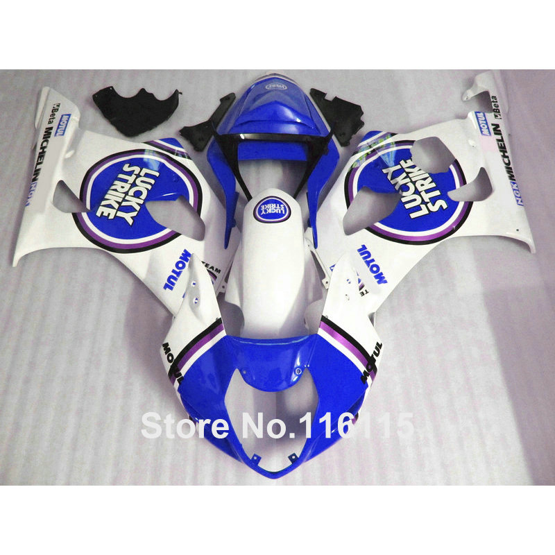 Injection molding bodywork set for SUZUKI 2003 2004 GSXR1000 fairing kit K3 K4 blue LUCKY STRIKE fairings GSXR 1000 03 04 AP91(China (Mainland))