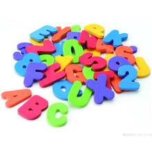 Kids Educational Floating Bath Letters & Numbers stick on Bathroom Toy 36pcs Candy color free shipping(China (Mainland))