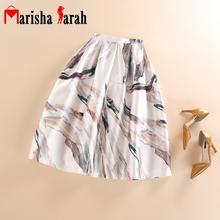 Womens Casual Comfy High Waist Large Swing Brand Pleated Midi Printting Skirt Ball Gown Skate Tutu Skirts saia longa faldas