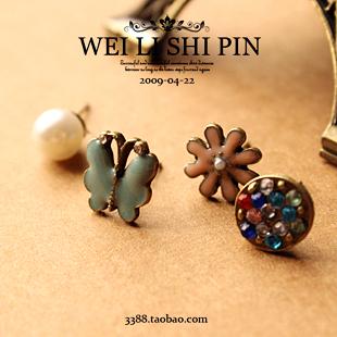 E2103  Fashion sweet 4 in 1 accessories princess pearl butterfly flower rhinestone stud earrings sets