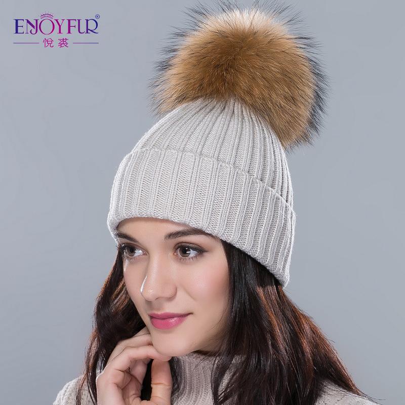 Women's beanies hat with raccoon fur pom poms winter hats unisex multicolors flexible outdoor snow caps Hip Hop Skullies Cap(China (Mainland))