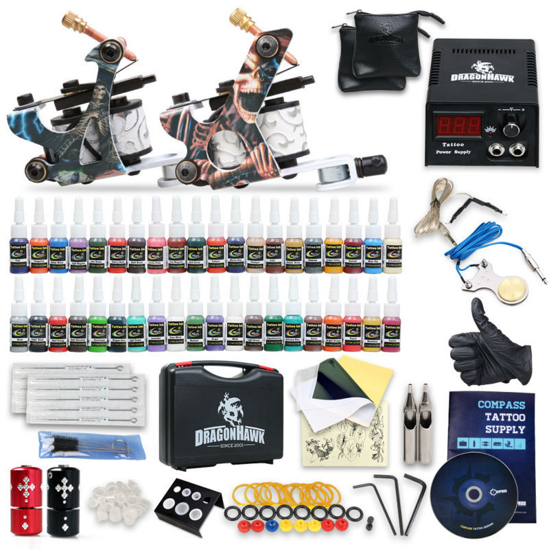 Complete Beginner Tattoo Kit Machine Guns Inks Needles Tattoo Power Supply SMT40-1<br><br>Aliexpress