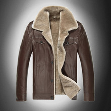 Men Genuine Sheep Leather Fur Luxury Motorcycle Sports Brand Design Winter Snow Thicken Warm Outdoor Jacket Overcoats S1702(China (Mainland))