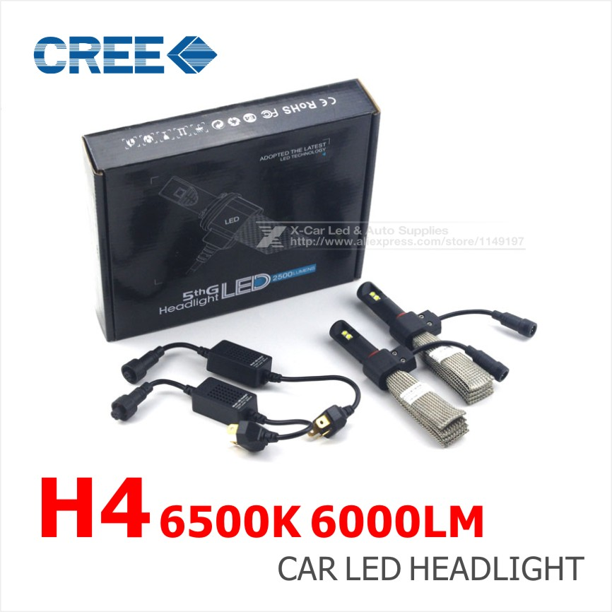 Just Plug & Play  White H4 9003 HB2 80W 6000LM CREE LED Car Auto Headlight Light Bulb Fog Lamp H/L All In One 12V Light Sourcing