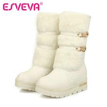 ESVEVA nueva pisos de Mitad de la Pantorrilla invierno botas de nieve caliente para las mujeres botas de plataforma PARA LAS MUJERES Patea los zapatos mujer(China (Mainland))