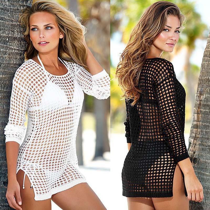 Fashion Women Beach Tunic Dress Beachwear Swimsuit Sexy Ladies Hand Crochet Hollow Swimwear Beach Shirt Bikini Cover Up Dresses