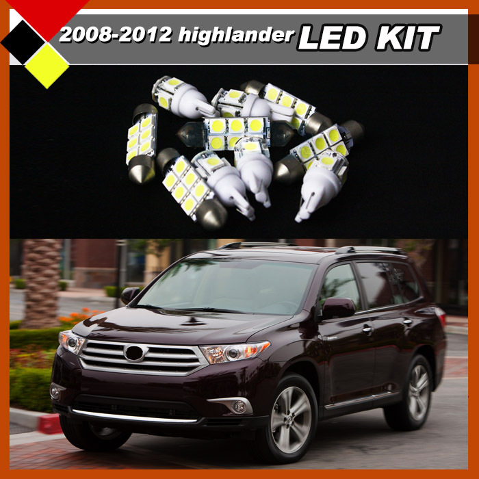 Car LED Lights Kit Package White 12V Auto Interior Map Dome Step Courtesy Exterior License Plate Lamps Suit Highlander 2008-2012(China (Mainland))