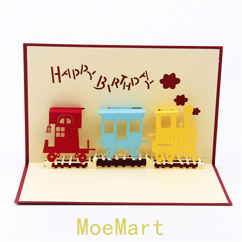 10PCS 3D Laser Cut Folding Birthday Card Funny Children Train Birthday Cards 300g Kraft Paper With Envelop And Note Paper(China (Mainland))