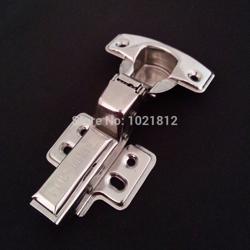 1 Pair Inset 1.5mm Thickness Hydraulic Cabinet Hinge 304 Stainless Steel Soft Close Brass Buffering Hinge Fixed Base(China (Mainland))