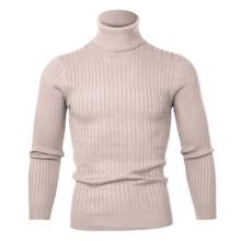2019 고품질 따뜻한 터틀넥 스웨터 남자 패션 솔리드 니트 남성 스웨터 캐주얼 슬림 (China)