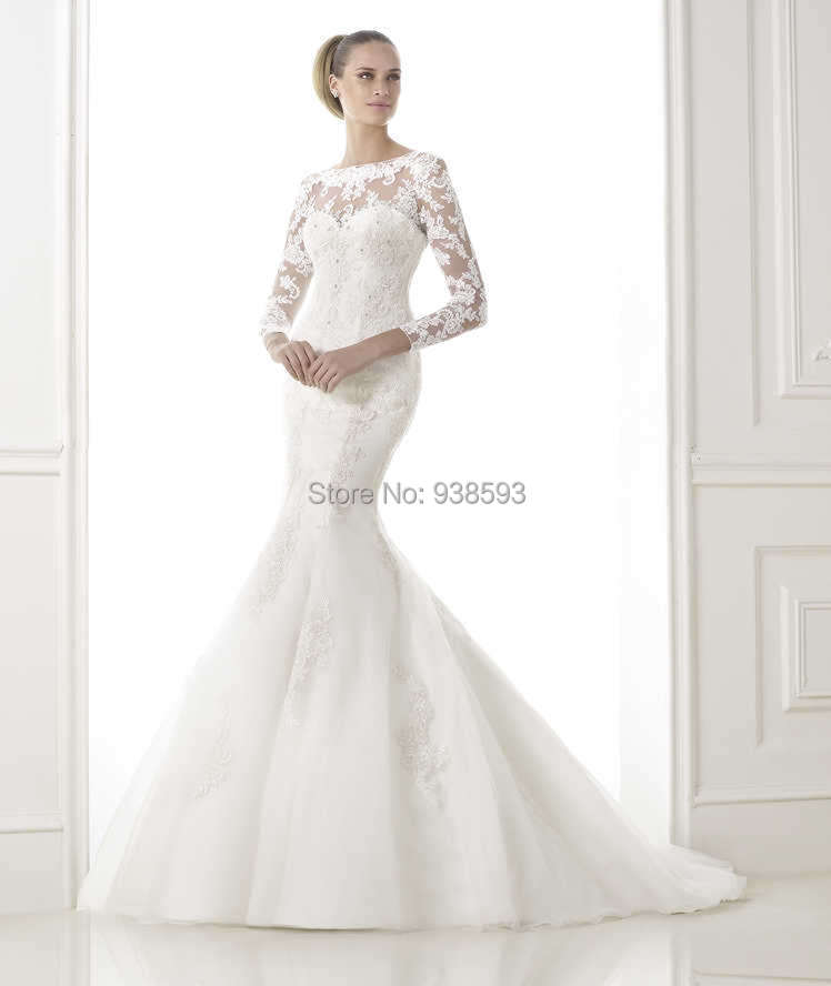 Trumpet style wedding dresses lace : Trumpet style appliqued long sleeve lace bridal gown wedding dresses
