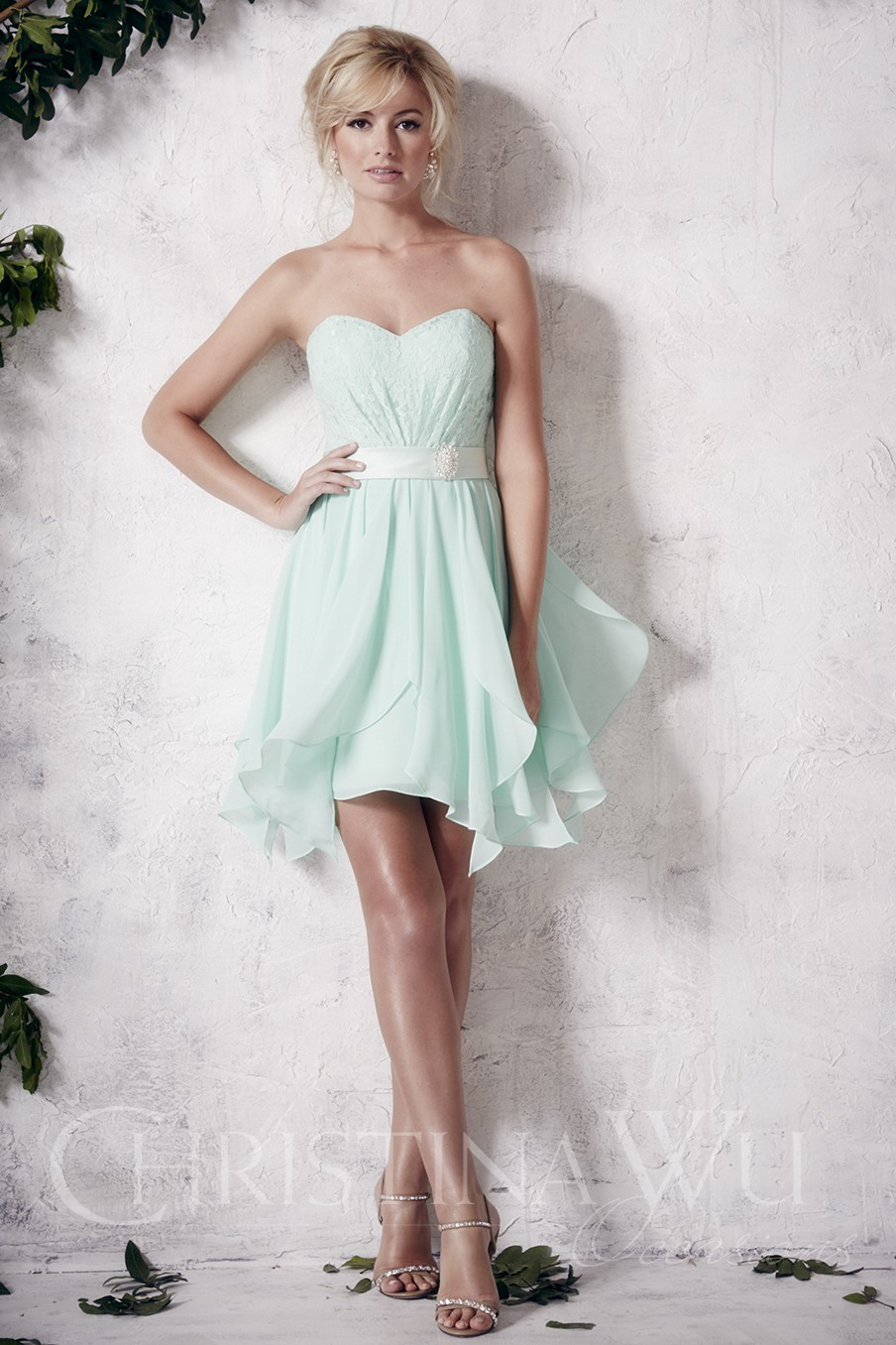 Buy lovely sweetheart chiffon lace short for Green beach wedding dresses