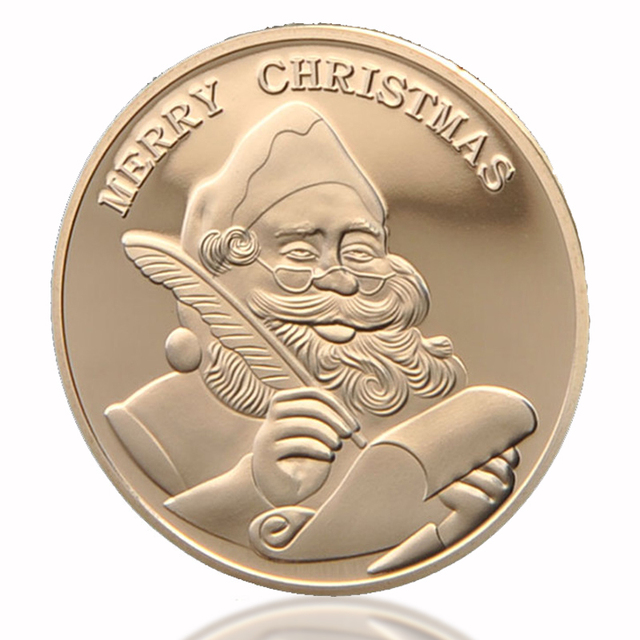 Hot merry christmas wishing coin santa claus commemorative