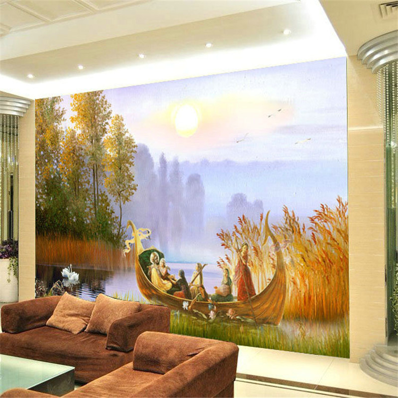 Fashion Large Mural Tv Wall Sofa Landscape Oil Painting Wallpaper Inwallpapers From Home