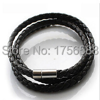 hot new multilayer synthetic leather wrap bracelet braided rope cool cuff bracelet gift freefall mens(China (Mainland))