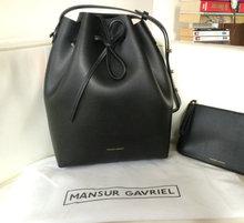 2016 Women Fashion Brand Genuine Leather MANSUR GAVRIEL Bucket Bag Drawstring Bucket Shoulder Crossbody Bag with Logo(China (Mainland))