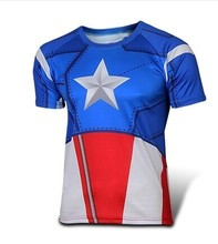 NEW 2015 Marvel Captain America 2 Super Hero lycra compression tights sport T shirt Men fitness