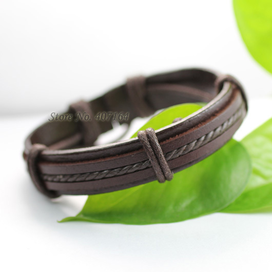SF33- handmade wrap braided genuine leather bracelet Hemp rope man & women - SunFlower Trade Co.,Ltd store