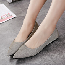 In 2015 the new spring and summer shoes pointed shoes with flat shoes Asakuchi sequined shoes