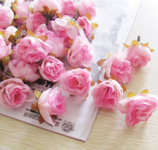 Free shipping 200pcs/lot Wedding Pink Rose Flower head, Artificial decoration Silk flower, Support mixed batch,16Color-SF03(China (Mainland))