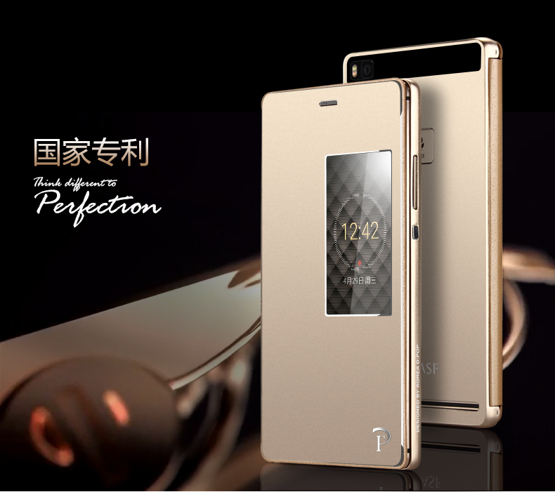 Huawei P8 Case Luxury View Display Window Metal Flip Cover Case For Huawei Ascend P8 5.2 Original Aluminum Mobile Phone Cases(China (Mainland))