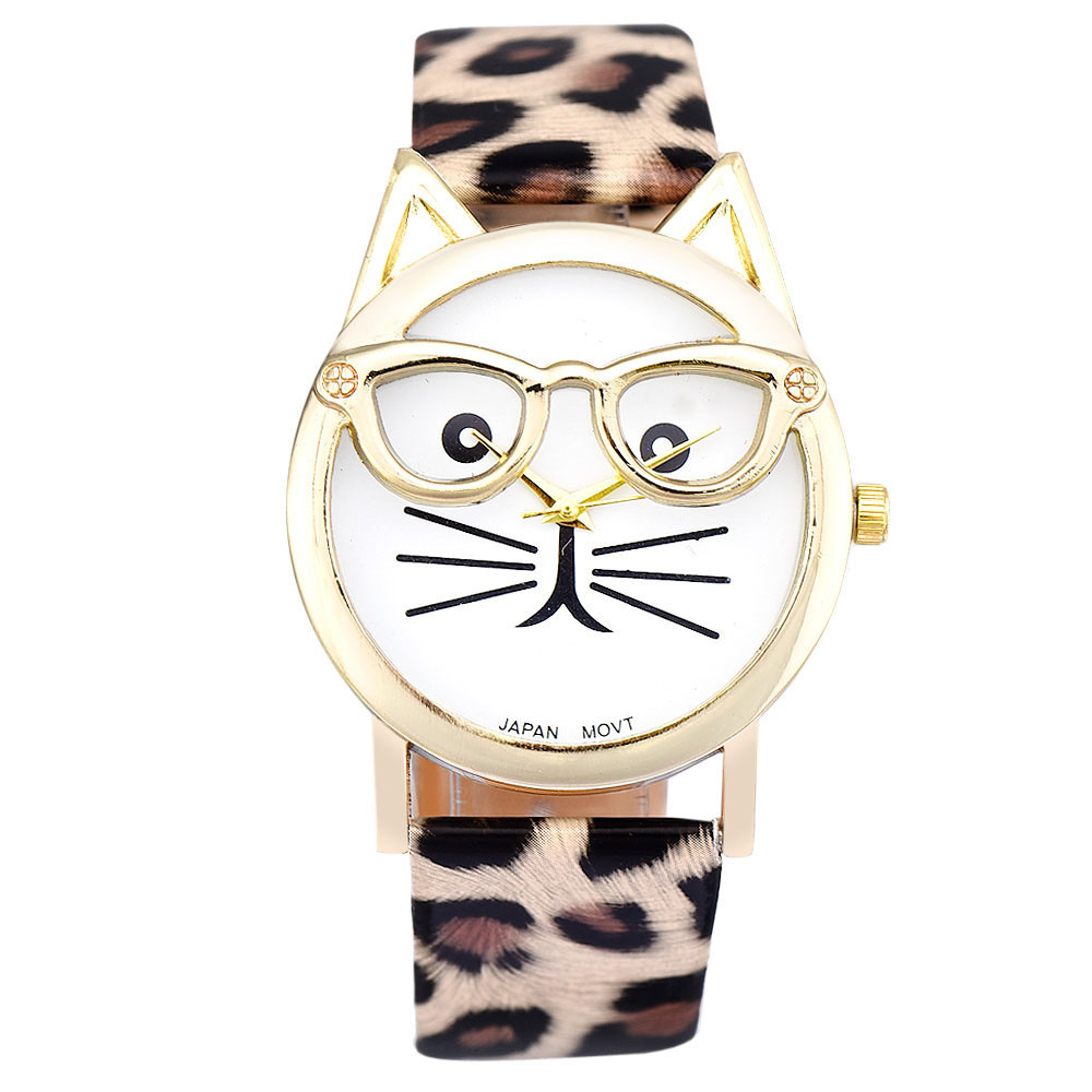 Гаджет  Spl Luxury Brand Women Clock Cute Glasses Cat Women Quarts Watch Brand Lovers Watch Women Leopard Lrint Leather Casual Watch None Ювелирные изделия и часы
