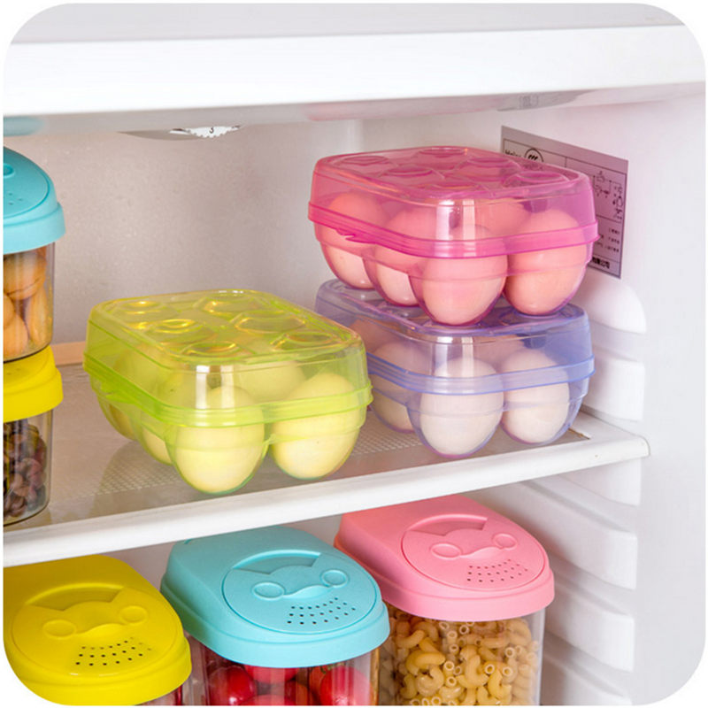 Plastic Colorful Transparent Eggs Six Grid Storage Box Kitchen Refrigerator Crisper Container Keep Egg Fresh Organizer Case Bin(China (Mainland))