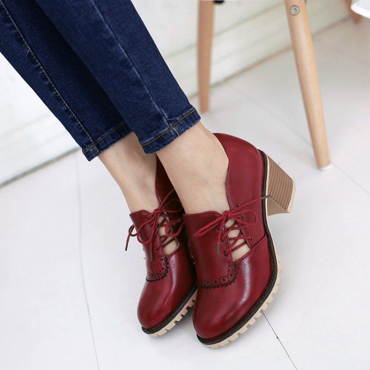 Britain style ladies single shoes round toes deep mouth lace-up pure color comfortable casual sexy women' s oxfords151216-4 - Online Shoes Shop store