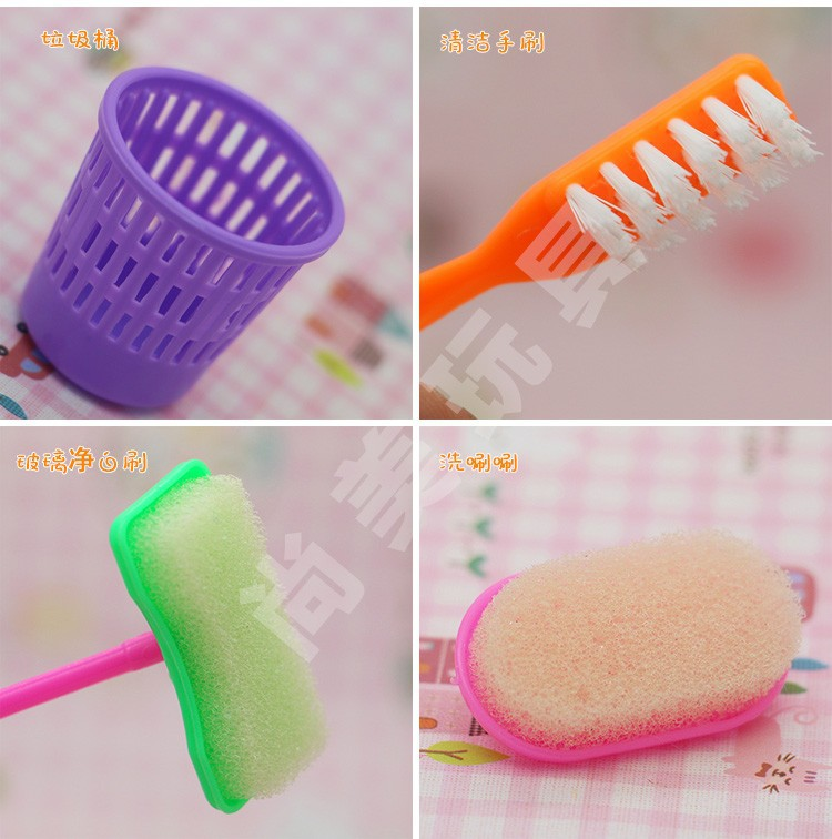 Free Delivery doll furnishings 9pcs/set equipment for Barbie Doll , Family cleansing instruments for barbie,items lady play home