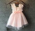 2016 Baby Girls Crochet Lace Tulle Dresses Kids Girl Summer 3D Flower Pearl TuTu Princess hallow