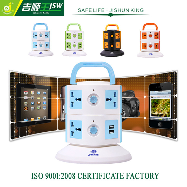 2 Floor USB Vertical Extension Socket AC 250V Multi Pin Plug Sockets 7 Outlets Universal Type Standard Grounding 2500W MAX(China (Mainland))