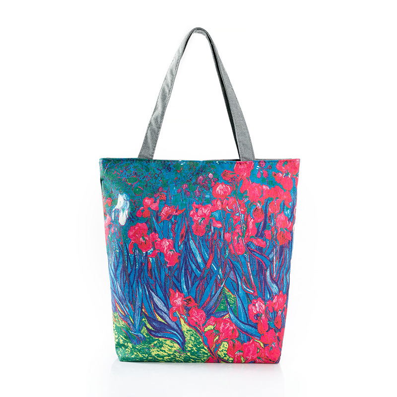 2016 Limited Real Bucket Totes Polyester Two Vintage Women Floral Explosion Painting Flowers Printed Canvas Trade Bag(China (Mainland))