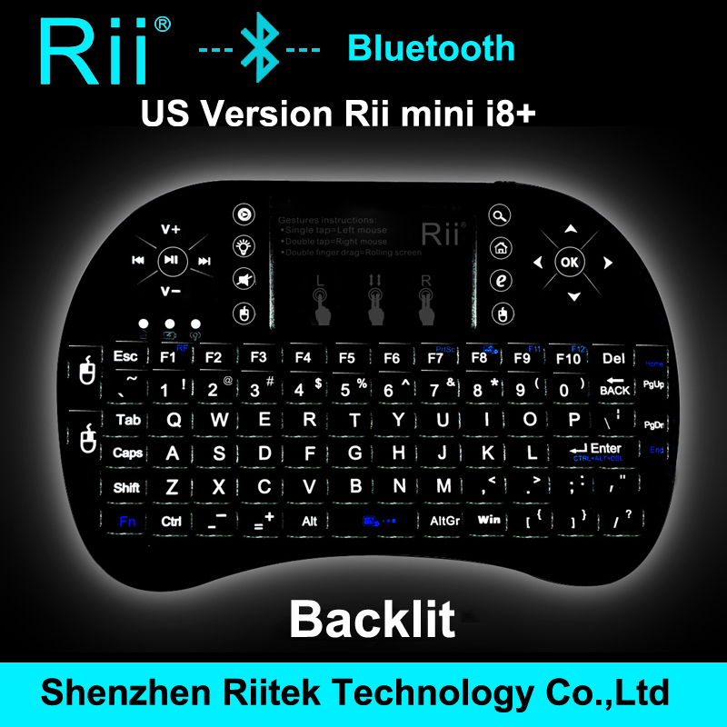 New Arrival Ultra-slim Rii mini i8+ Wireless Bluetooth Keyboard Mouse Touchpad Backlit Combo For PC Windows Android TV Box iOS(China (Mainland))