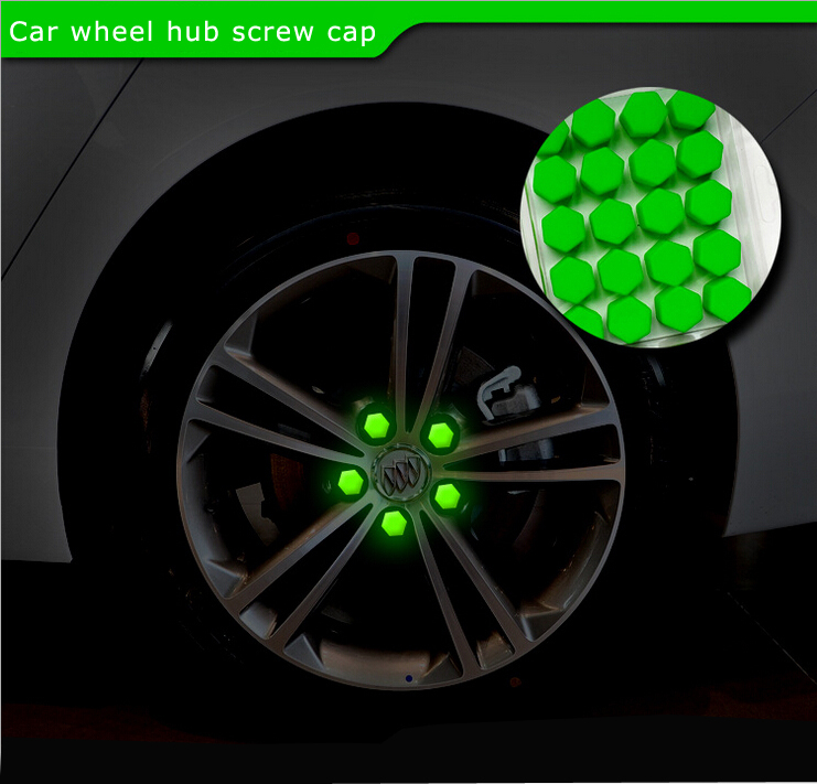 Hottest Car Styling Free Shipping 20pcs Silica Gel green Wheel Nuts Covers Protective Bolt Caps Hub Screw Protector 19#(China (Mainland))