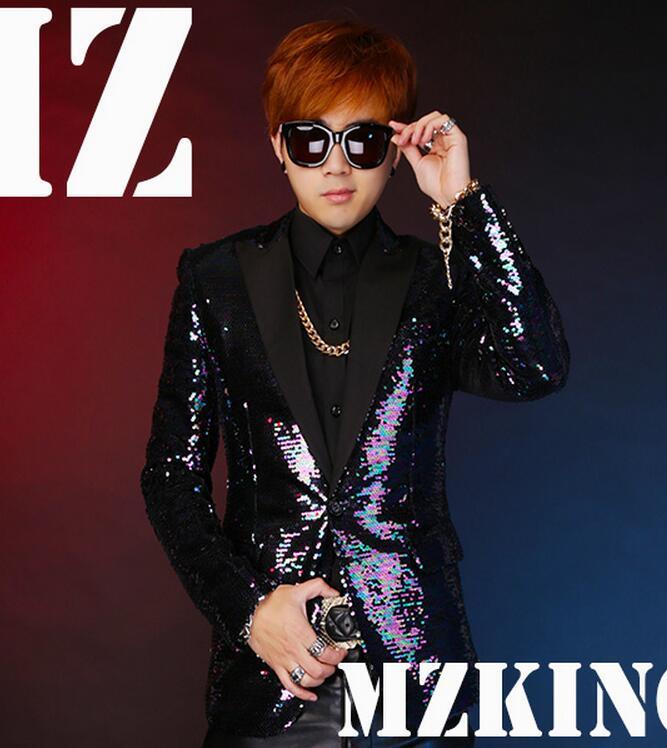 HOT 2016 Spring men singer DJ nightclub right Zhi-Long GD TOP Colorful purple green sequined Blazers costumes Slim Suit VSTINUSОдежда и ак�е��уары<br><br><br>Aliexpress