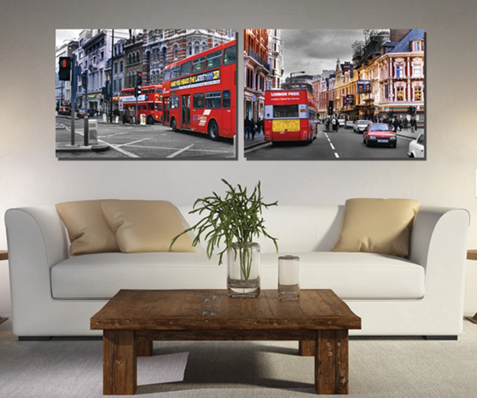 2pieces Free shipping Art picture Home Decorative Paints on Canvas Prints Double red bus Bustling New York Small town streets(China (Mainland))