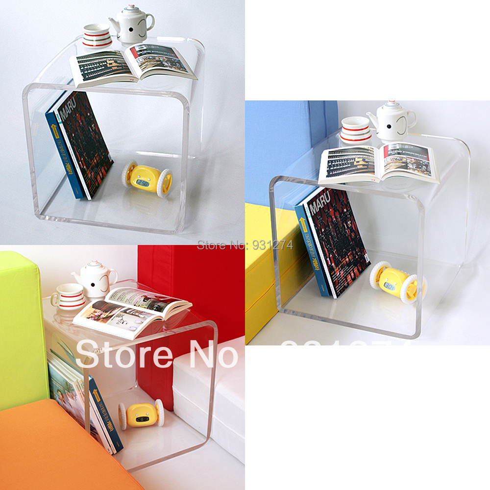 Free Shipping Colored Cubic Acrylic Night Table With Storage Rack Modern Coffee Table Side Table